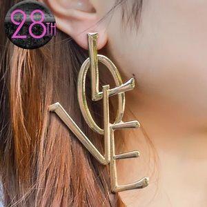 Women's Fashion Silver Gold Drop Love Earrings